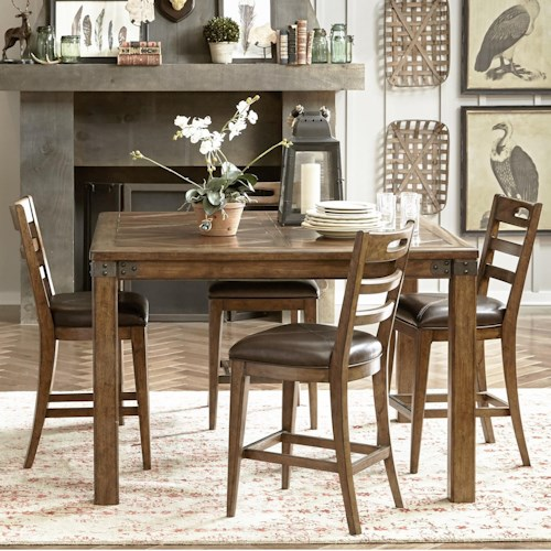 Pulaski Furniture Heartland Falls 5 Piece Gathering Table and Ladder Back Chair Set