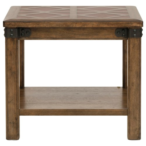 Pulaski Furniture Heartland Falls End Table with Stationary Bottom Shelf