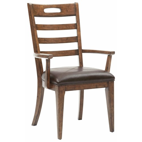 Pulaski Furniture Heartland Falls Ladder Back Arm Chair with Bonded Leather Seat