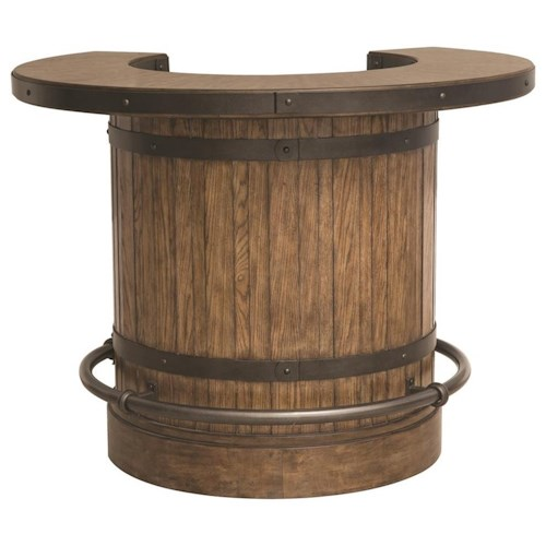 Pulaski Furniture Heartland Falls Barrel Bar with Decorative Metal Bands