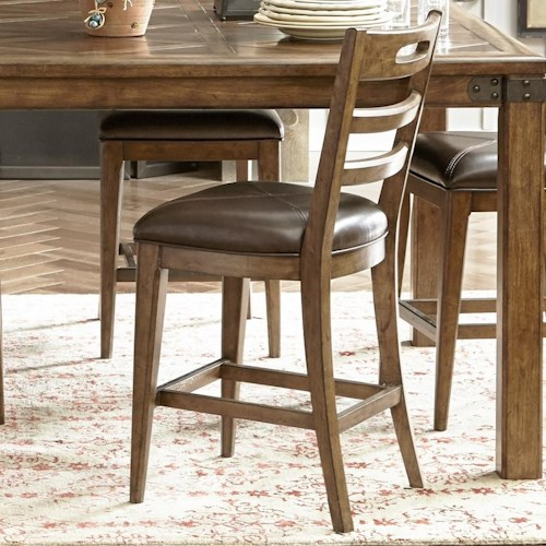 Pulaski Furniture Heartland Falls Ladder Back Gathering Chair with Bonded Leather Seat