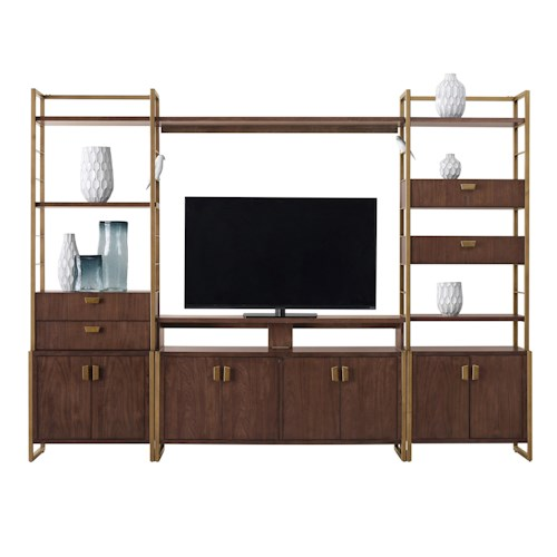 Pulaski Furniture Modern Harmony Mid Century Modern Entertainment Wall Console