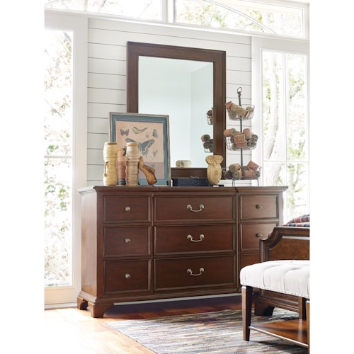 Rachael Ray Home Upstate 9 Drawer Dresser and Mirror with Wood Frame