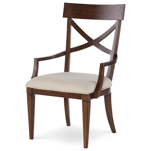 Rachael Ray Home Upstate X-Back Arm Chair with Upholstered Seat