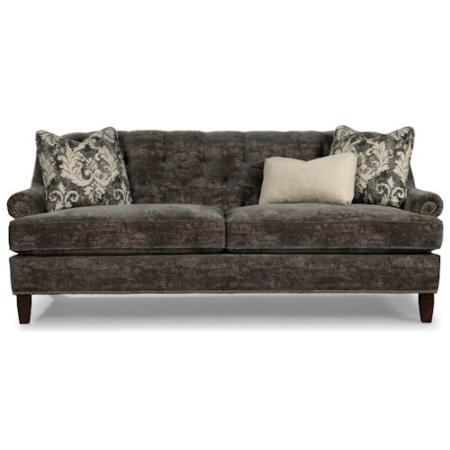 Rachael Ray Home by Craftmaster Upstate Transitional Tufted Sofa with Brass Nailheads on Arm and Base