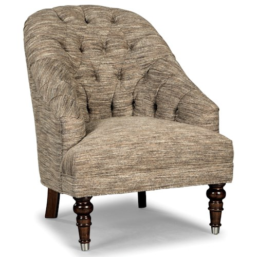 Rachael Ray Home by Craftmaster R0630 Traditional Button Tufted Chair with Turned Legs