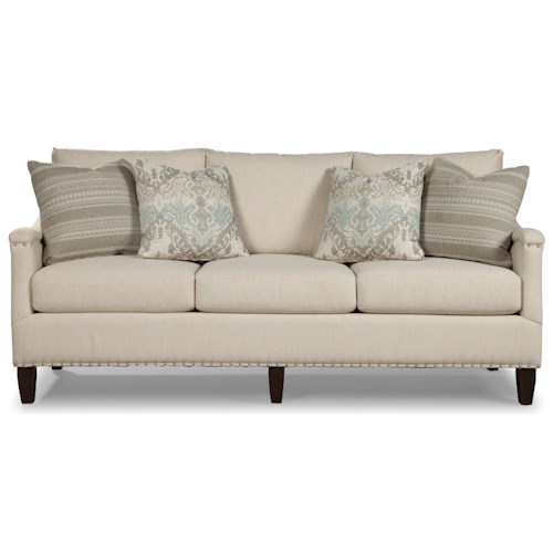 Rachael Ray Home by Craftmaster Upstate Transitional Sofa with Sloped Arms and Pewter Nailheads