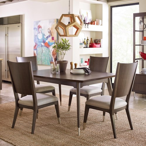 Rachael Ray Home by Legacy Classic Soho Mid-Century Modern 5 Piece Table and Chair Set with Upholstered Seating