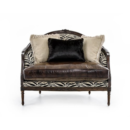 Rachlin Classics Claudine Oversized Exposed Wood Chair with Upholstered Seat, Back and Arm Rests