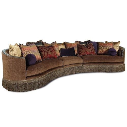 Rachlin Classics Whitney Traditional 3 Piece Sectional Sofa with Fringed Skirt