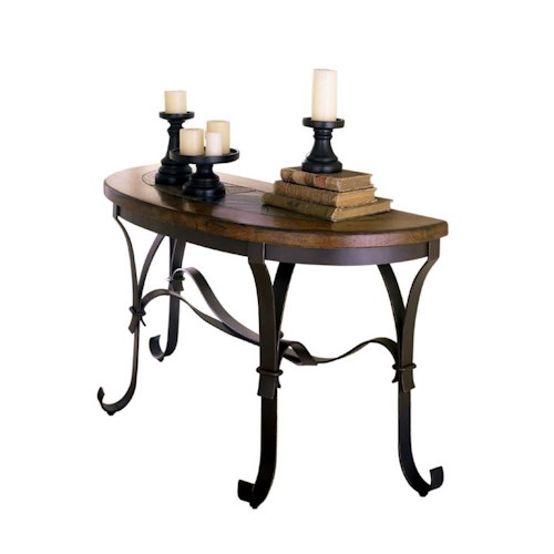 Riverside Furniture Stone Forge Sofa Table with Stone Top