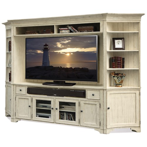 Riverside Furniture Aberdeen Wall Entertainment Unit in Weathered Worn White Finish