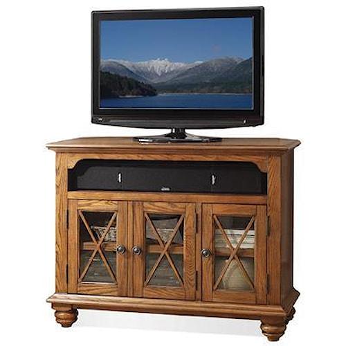 Riverside Furniture Allegheny  Corner TV Console w/ Glass Doors