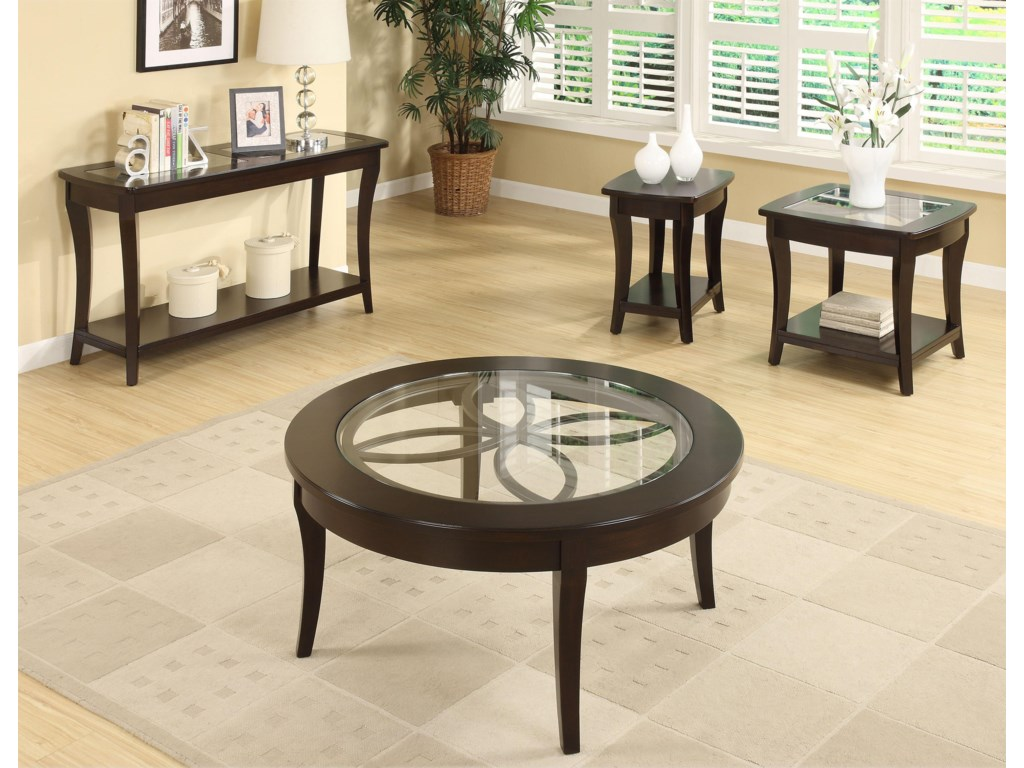 Shown with Coordinating Chairside Table, Sofa Table, and Round Coffee Table