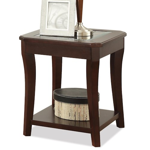 Riverside Furniture Bancroft Transitional End Table with Glass Insert