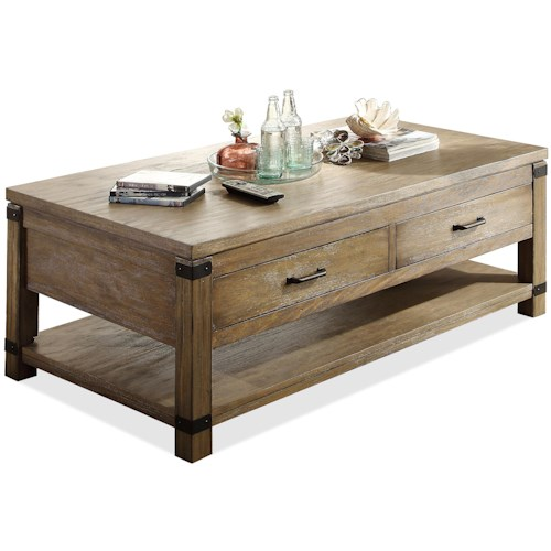 Riverside Furniture Bay Cliff Rectangular Cocktail Table with 2 Drawers
