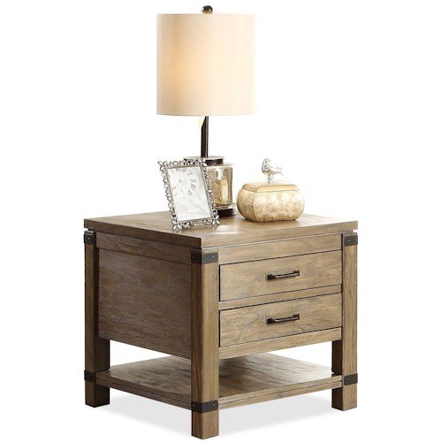 Riverside Furniture Bay Cliff Rectangular 2 Drawer End Table with 1 Shelf