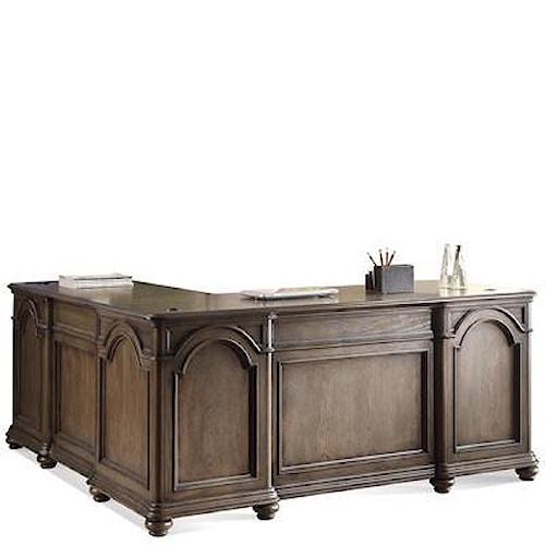 Riverside Furniture Belmeade L-Desk & Return w/ Diamond Pattern Inlay