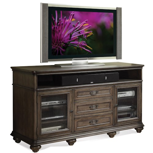 Riverside Furniture Belmeade TV Console w/ Electronic Storage Area