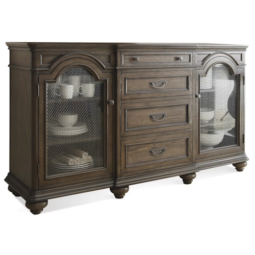 Riverside Furniture Belmeade Server w/ Mesh Metal Grilles