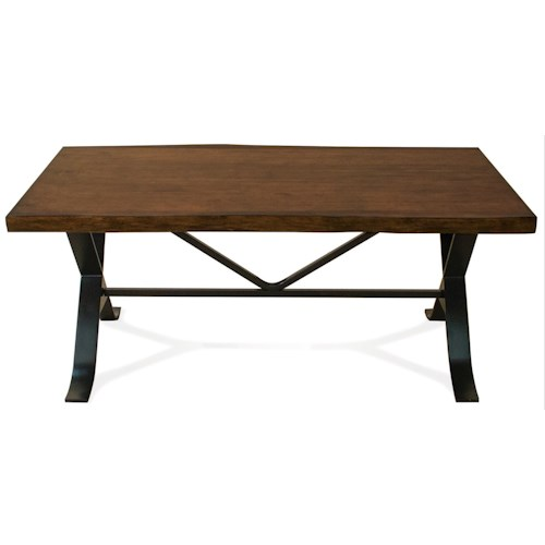 Riverside Furniture Boulder Casual Coffee Table with Metal Legs and Framework