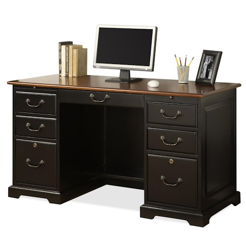 Riverside Furniture Bridgeport  54 Inch Double Pedestal Desk