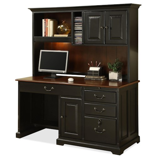 Riverside Furniture Bridgeport  Single Pedestal Computer Desk with Storage Hutch