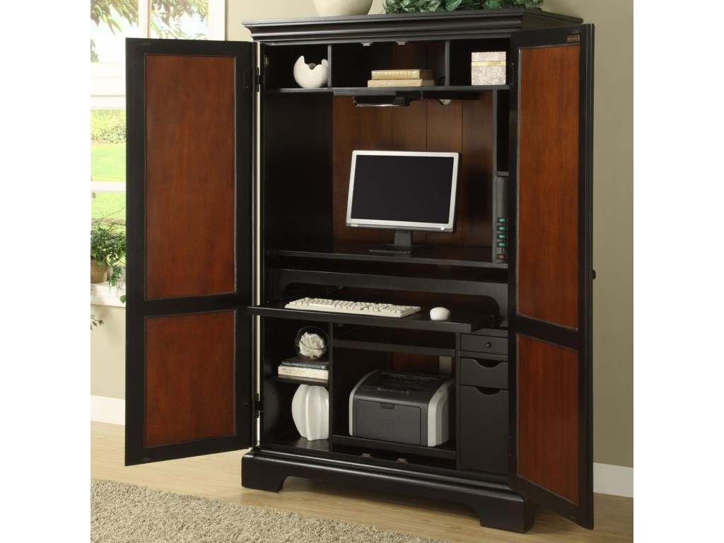 Shown with Computer Equipment and Convenient Storage