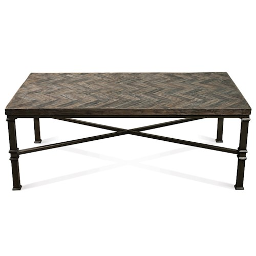 Riverside Furniture Bridlewood Rectangular Coffee Table w/ Chevron Top
