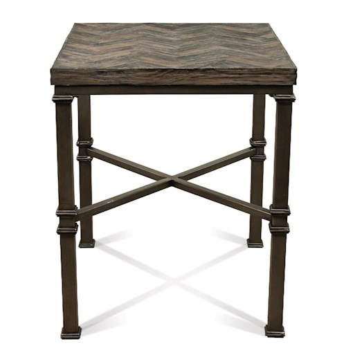 Riverside Furniture Bridlewood Chevron Side Table w/ Stretcher