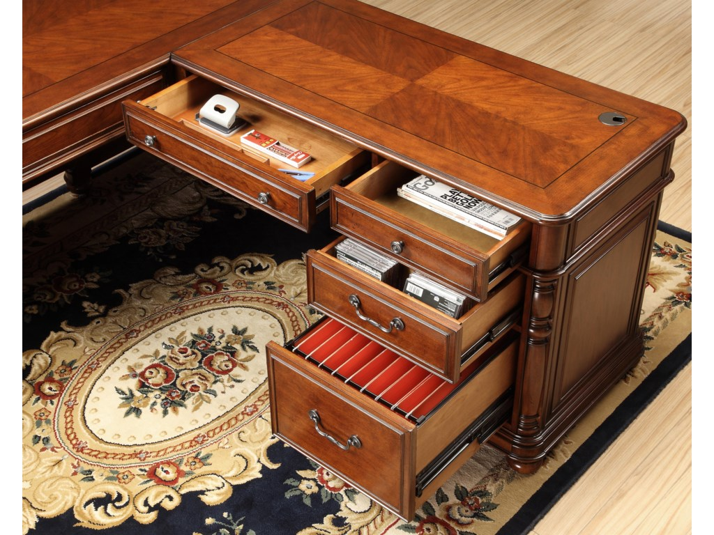 Detailed View of Cherry Veneer Top, Wiring Access Holes with Grommet and Cap, and Pullout Shelves