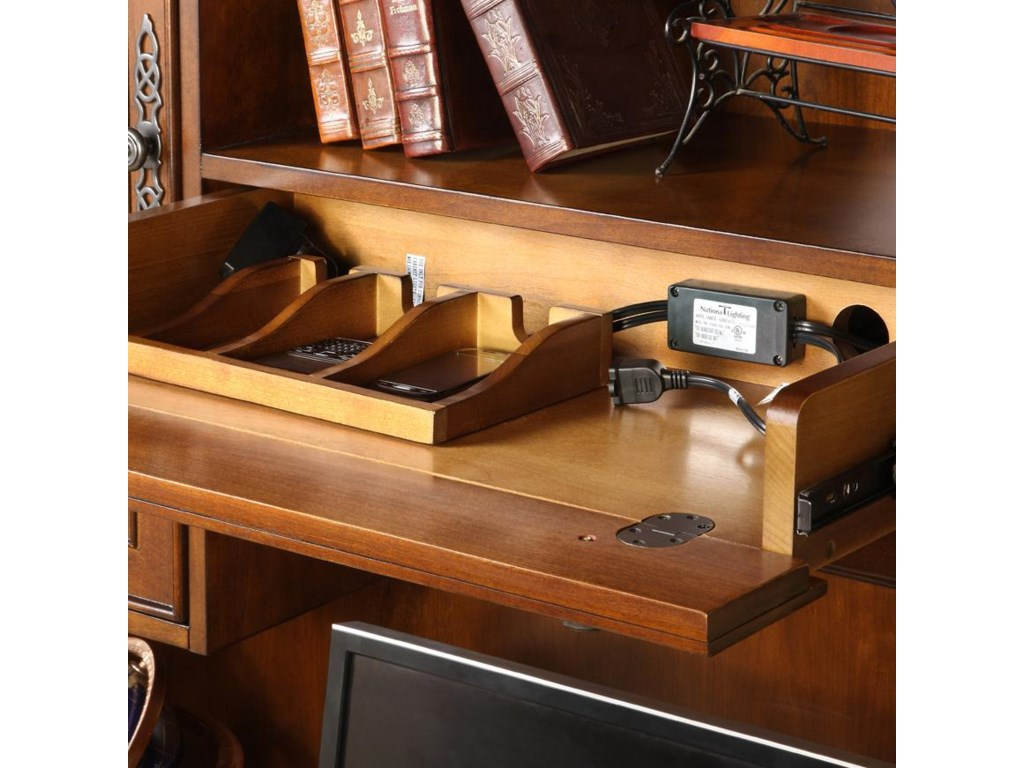 Drop-Front Center Drawer with 3-Section Charging Box and 3-Outlet Corded Powerbar