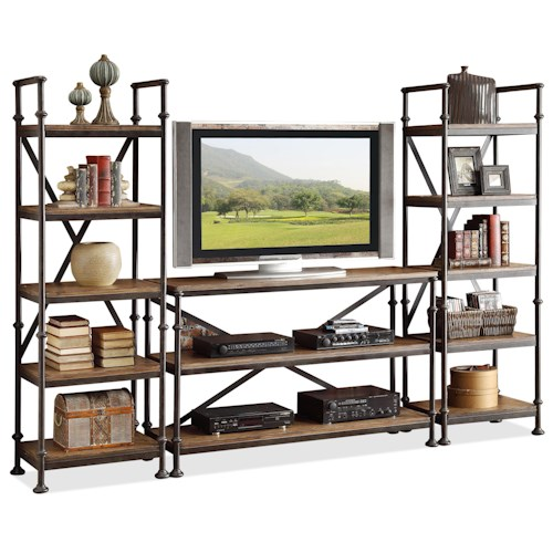 Riverside Furniture Camden Town Open Entertainment Wall Unit with 12 Shelves