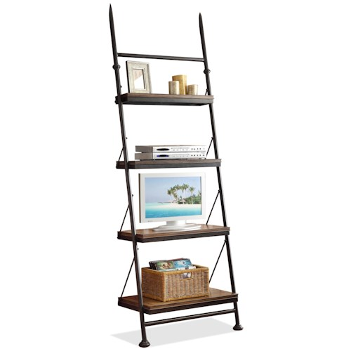 Riverside Furniture Camden Town Open Leaning Bookcase with 4 Shelves