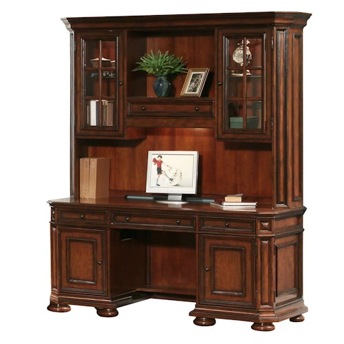 Riverside Furniture Cantata Kneehole Computer Credenza & Hutch