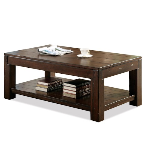 Riverside Furniture Castlewood Rectangular Coffee Table with Fixed Lower Shelf and Block Legs