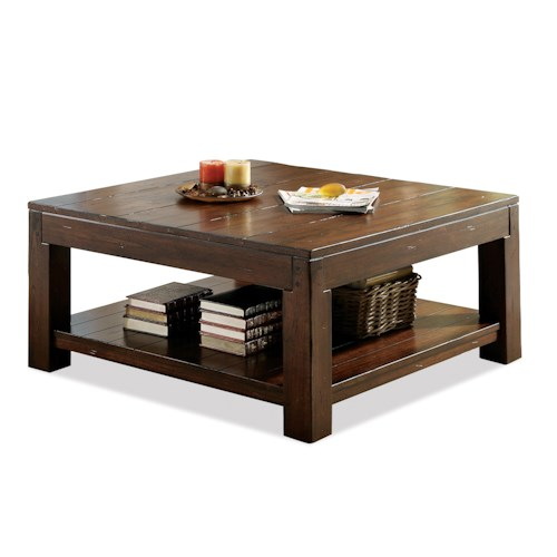 Riverside Furniture Castlewood Square Coffee Table with Fixed Bottom Shelf and Block Legs