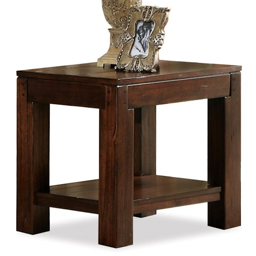 Riverside Furniture Castlewood End Table with Fixed Bottom Shelf and Block Legs
