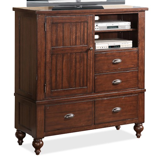 Riverside Furniture Castlewood Media Chest with 3 Adjustable Shelves and 4 Drawers and 1 Door