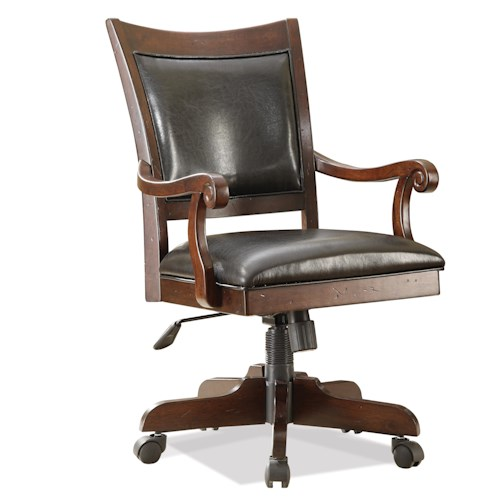 Riverside Furniture Castlewood Desk Chair with 5-Star Base and Upholstered Seat and Back
