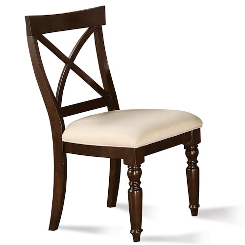 Riverside Furniture Castlewood X-Back Dining Side Chair with Front Turned Legs and Upholstered Seat