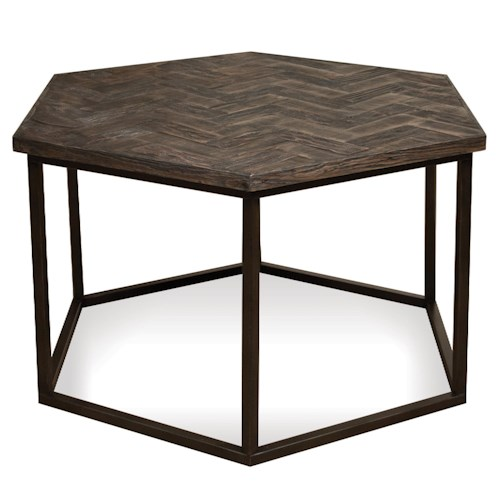 Riverside Furniture Chevron Hexagon Coffee Table w/ Metal Base