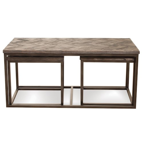 Riverside Furniture Chevron 3 Pc Rectangular Nesting Coffee Table