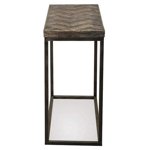 Riverside Furniture Chevron Narrow Chairside Table w/ Metal Base