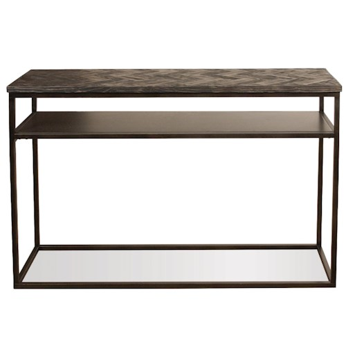 Riverside Furniture Chevron Industrial Sofa Table w/ Shelf