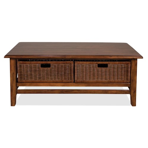 Riverside Furniture Claremont  Rectangular Cocktail Table with 2 Removable Wicker Storage Baskets
