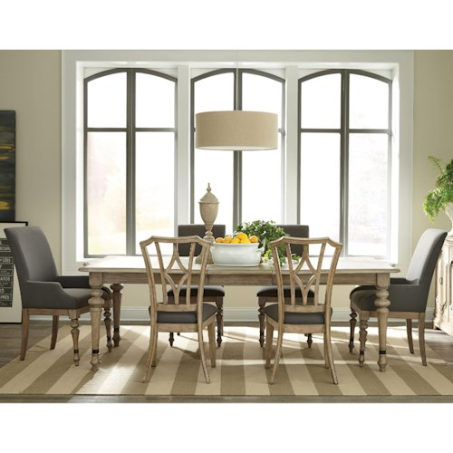 Riverside Furniture Corinne 7 Piece Turned Leg Table and Eclectic Chair Set