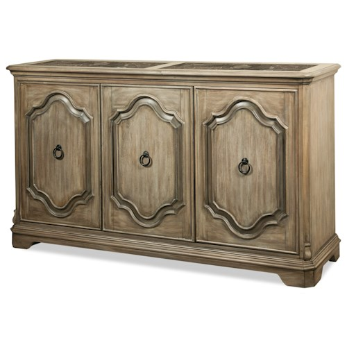 Riverside Furniture Corinne Server with Marble Insert Top