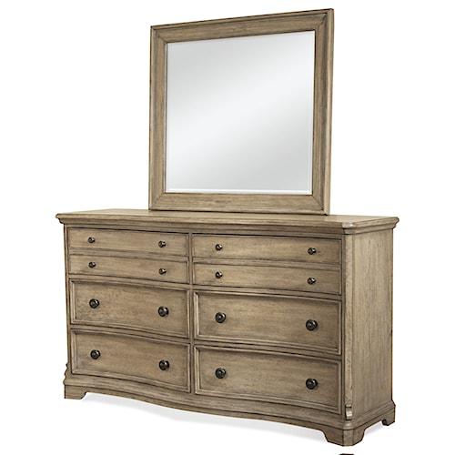 Riverside Furniture Corinne 6 Drawer Dresser and Landscape Mirror Combo