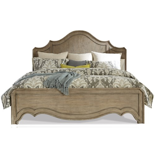 Riverside Furniture Corinne King Curved Panel Bed in Sun-Drenched Acacia Finish